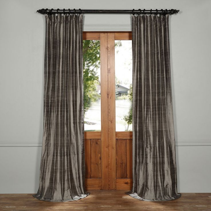 Exclusive Fabrics & Furnishings Turbulence Gray 108 X 50 Inch Textured Dupioni Silk Curtain Dis Id1673 108