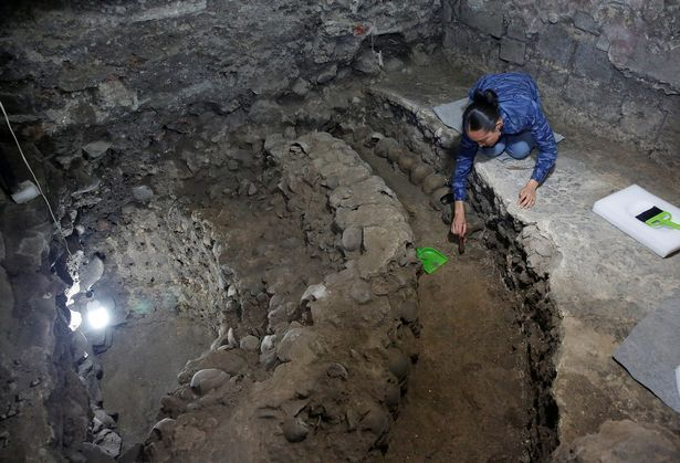 Horrifying tower of hundreds of human skulls including children unearthed beneath Mexico City - Mirror Online