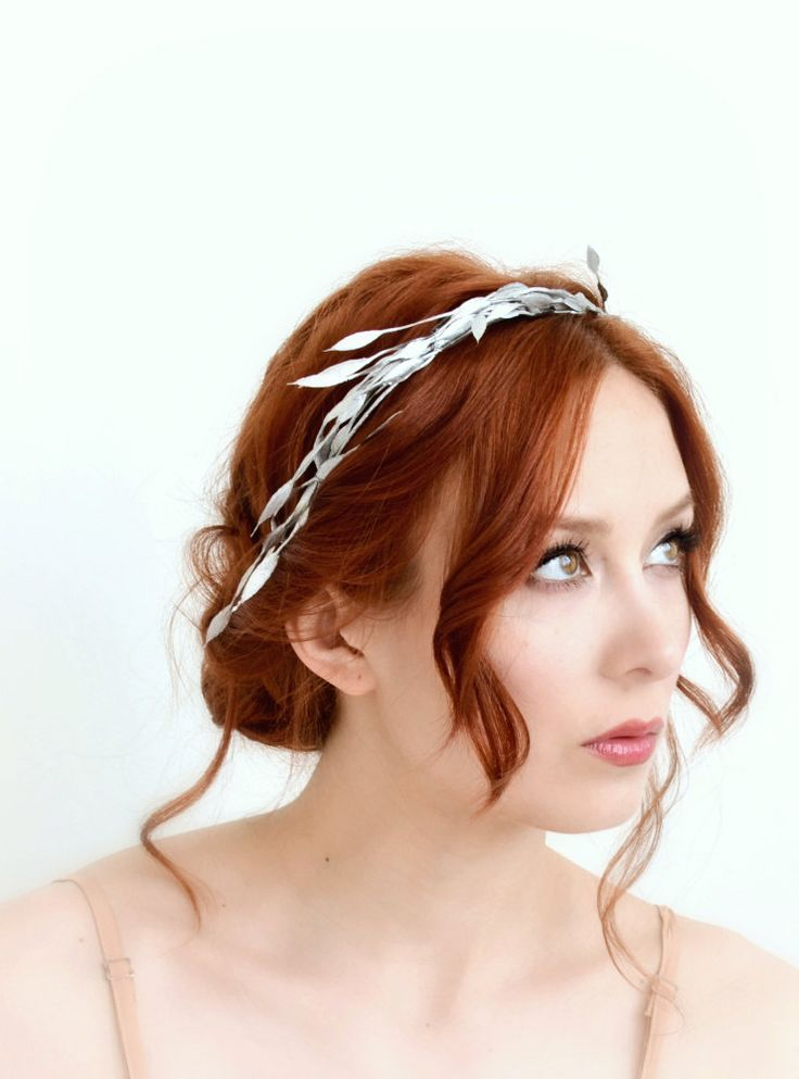 Blatt-Krone Silber Zweig Krone griechische von gardensofwhimsy