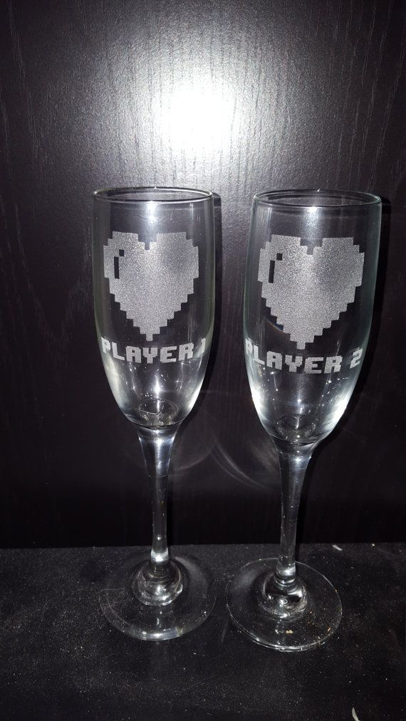 Etched Pixelated Heart Champagne Flutes with Player 1 and