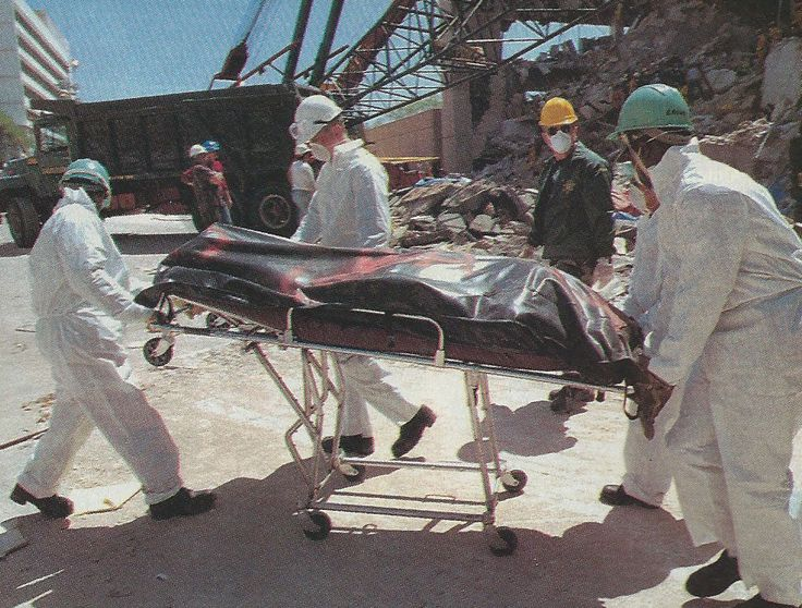 After April 19, 1995, rescue workers recover only the dead from the Oklahoma City bombing site of the Alfred P Murrah building. The dead were taken to temporary makeshift morgues in a car wash and a garage.