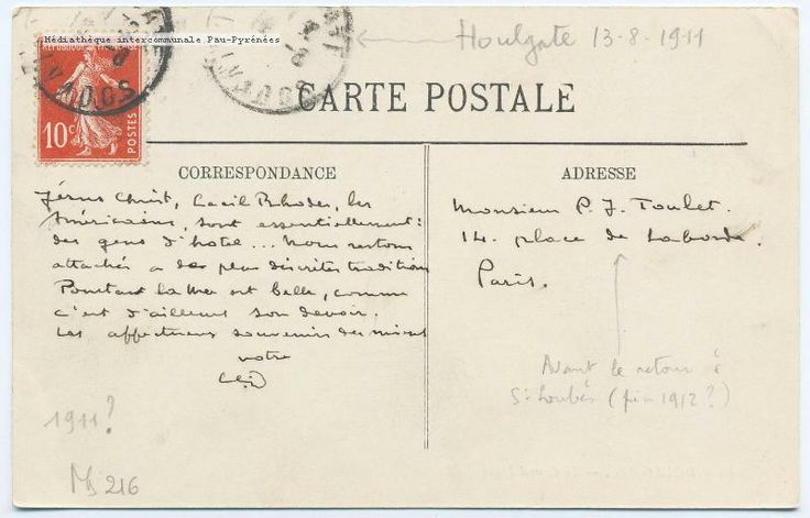Music history - postcard from Claude Debussy to Paul-Jean Toulet from the Grand Hotel in Houlgate 1911 thttp://www.normandythenandnow.com/houlgate