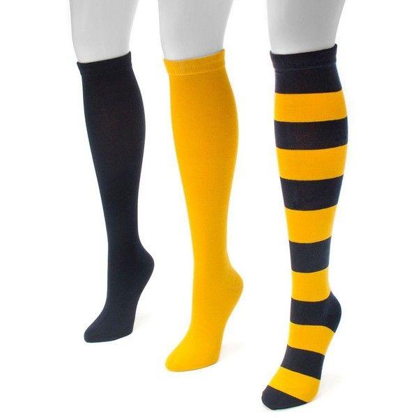 Adult MUK LUKS Game Day 3-pk. Knee-High Socks ($26) ❤ liked on Polyvore featuring intimates, hosiery, socks, navy and yellow, navy knee high socks, yellow socks, yellow knee high socks, navy socks and knee hi socks