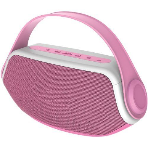 Sylvania SP233-Pink Wireless Bluetooth Portable Boombox, Pink
