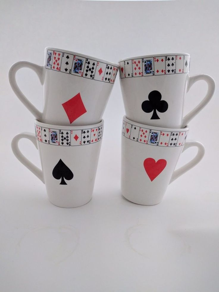 4 Stoneware Suit Poker Card Mugs Coffee Cups by Hausenware Morgan Love Thoman #Hausenware & 33 best Classic China and Dishes images on Pinterest | Dinnerware ...