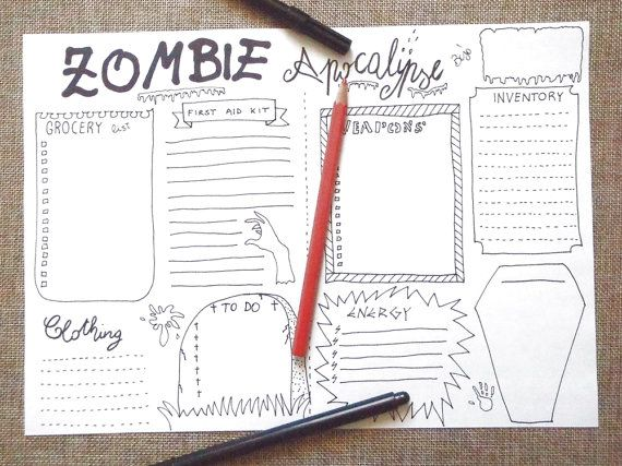invasione zombie bujo journal halloween planner da stampare sopravvivenza lista zombie apocalisse agenda download scrapbook lasoffittadiste