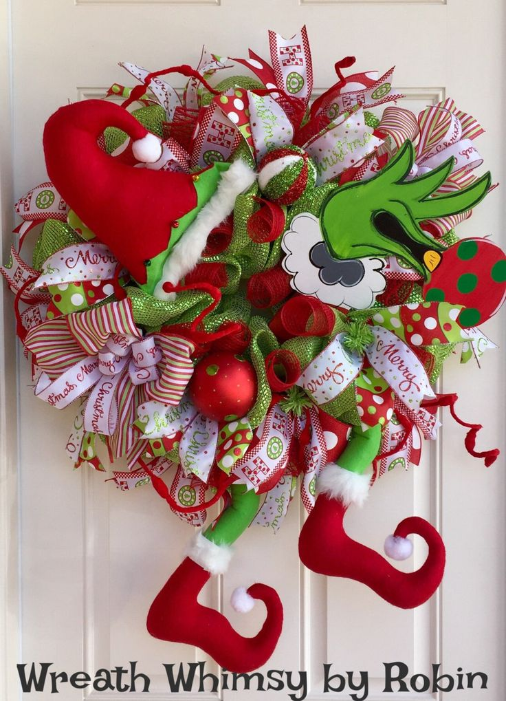 Grinch Christmas Deco Mesh Wreath in Lime Green & Red, Holiday Wreath, Christmas Decor, Grinch Decor, Front Door Wreath by WreathWhimsybyRobin on Etsy
