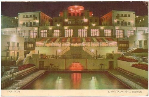 Postcard of the Butlin's Ocean Hotel in Brighton (now demolished)
