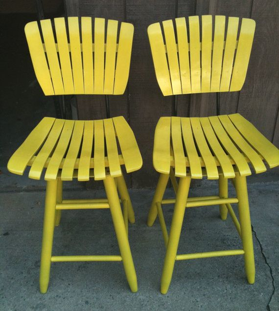 Very cute!  Retro Yellow Painted Wooden Swivel Bar Stool by gremlina