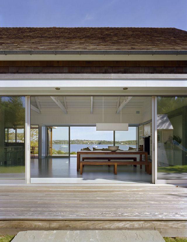 Open floor plan dream white light montauk lake house for Modern lake house plans