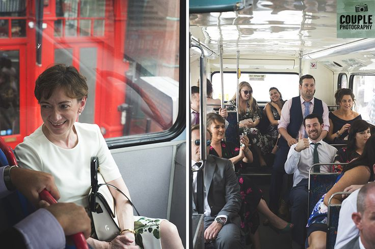 all the guests on the bus. Real Wedding by Couple Photography