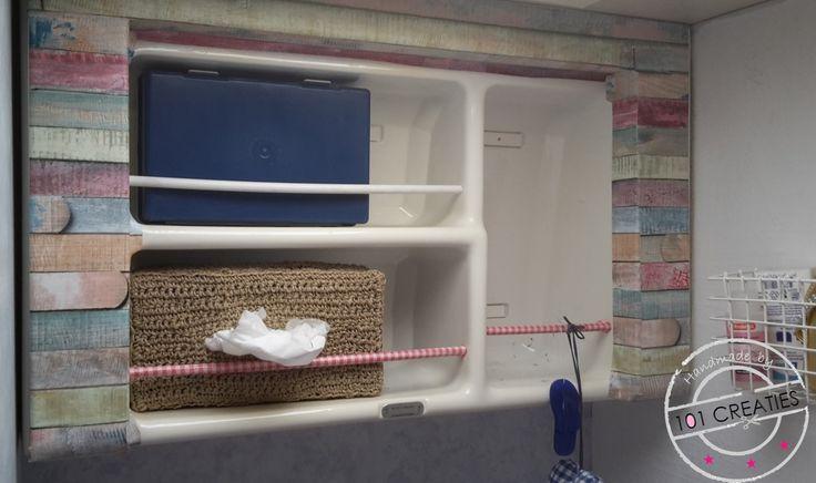 Met deze tissuebox van touw en wat hip plakplastic pimp je eenvoudig de toiletruimte van de caravan.