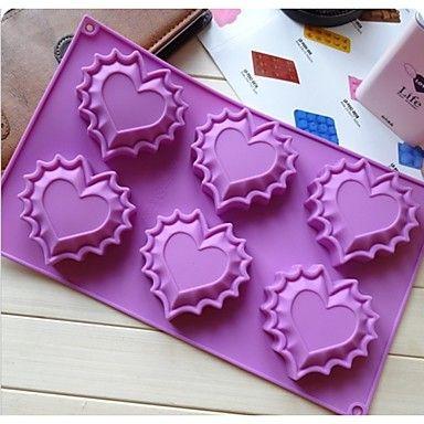 fashoin hartvorm ijs chocolade taart maken gereedschappen siliconen cakevorm snoep gelei zeep modelleren mal (willekeurige kleur) – EUR € 6.99