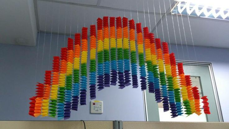 Rainbow mobile made from paper