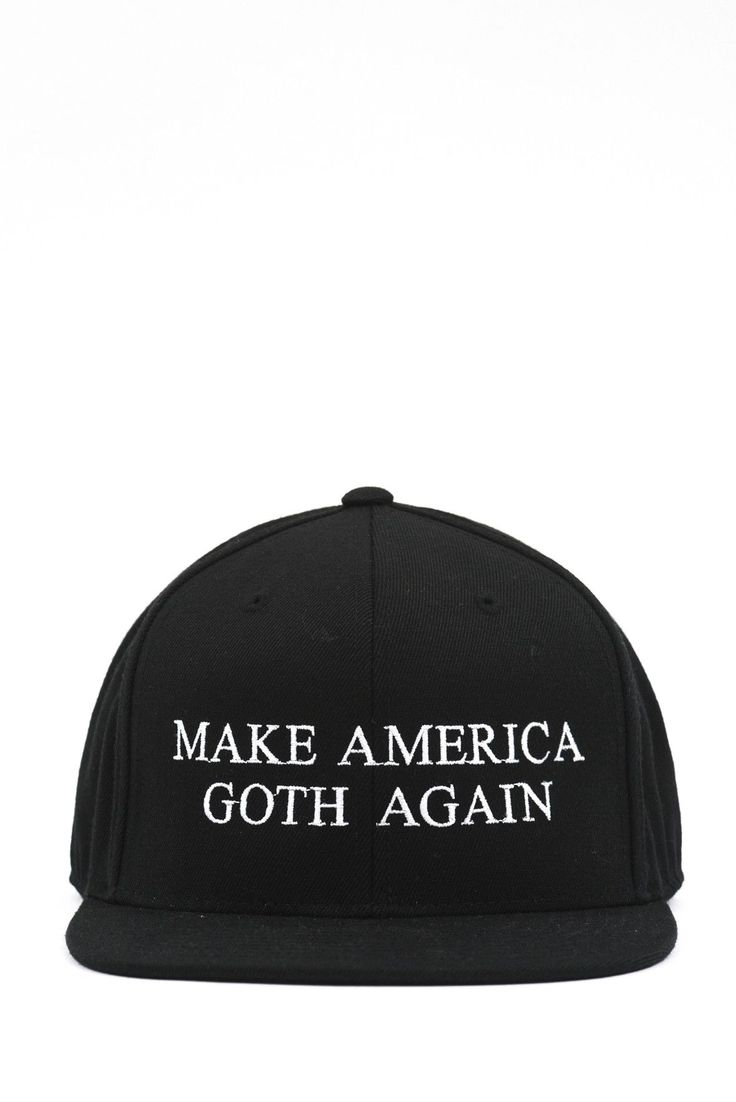 """Exclusive SKINGRAFT """"MAKE AMERICA GOTH AGAIN"""" snapback. White embroidery on…"""