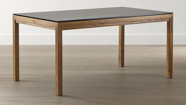 Grey Glass Top/ Elm Base Dining Tables | Crate and Barrel