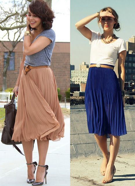 long pleated skirt & tee- the pleated skirt is hard for many women to pull of (myself included), but I love the whimsy of the sheer skirt with a cotton T.
