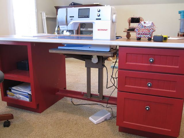 """Sewing machine cabinet made with 18"""" kitchen drawer base cabinet and a custom made 18"""" cubby.  Cover in countertop and cut out hole for sewing machine.  Don't forget to install the sewing machine lift."""