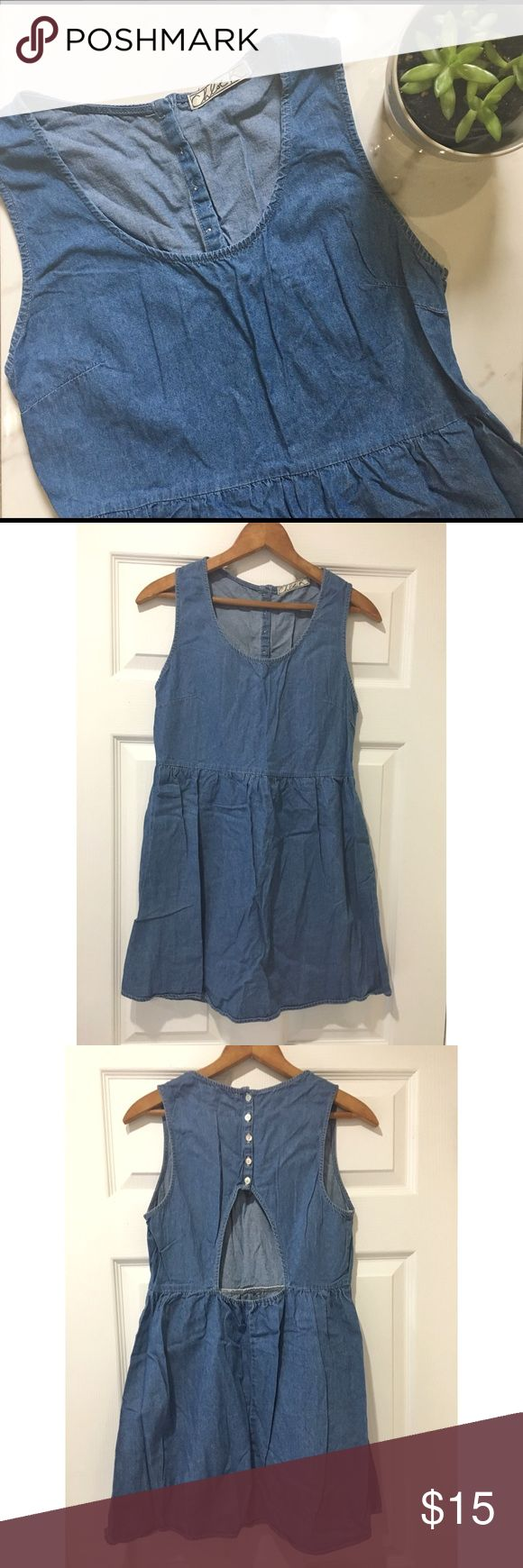 """CHLOE K Denim Skater Dress There is no tag that shows what size it is. Measurements down below. This cute, denim skater dress makes the summer season feel it could last just a little longer if we only hope it does. 