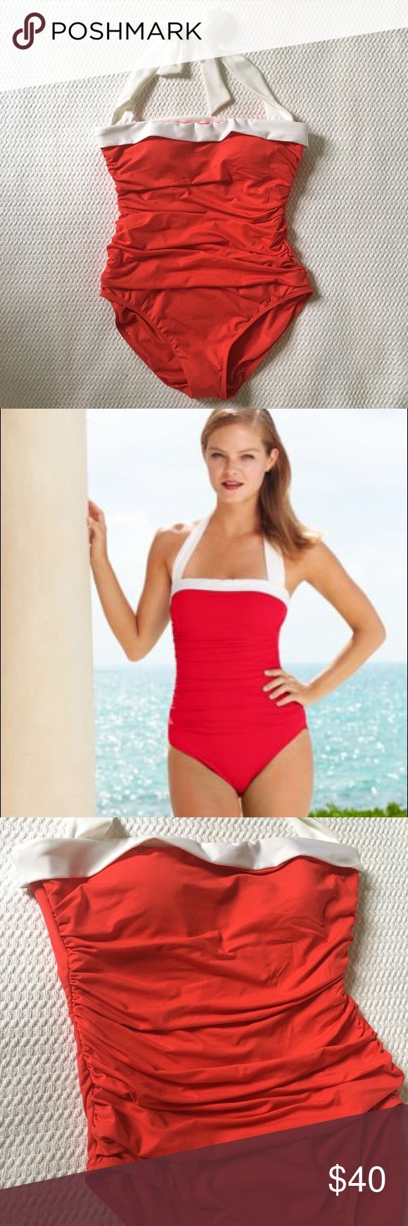 NEW Ralph Lauren Coral/Red Halter 1 Piece Swimsuit Never worn and flattering Bel Aire Bandeau Mio One-Piece in Coral/Red with white contrast trim at neckline and straps. Bandeau neckline with halter ties at back neck. Shirred side seams and a tummy-control design create a slimming silhouette. Supportive shelf bra with lightly padded cups and flexible boning. Skirted detail at hip increases coverage. Medium rear coverage. Lined. Hygienic liner still intact.  Lining: nylon, Lycra®, polyester…