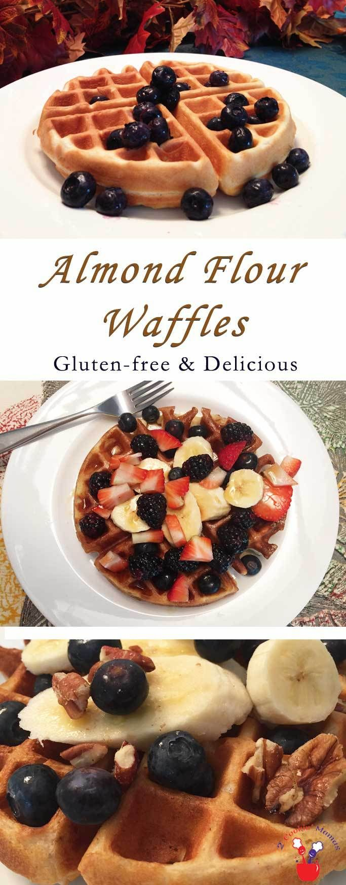 Almond Flour Waffles main | 2 Cookin Mamas Our Almond Flour Waffles are perfect for both gluten-free & paleo diets. Made with almond flour, eggs & sweetened with honey, it's one tasty breakfast. #recipe