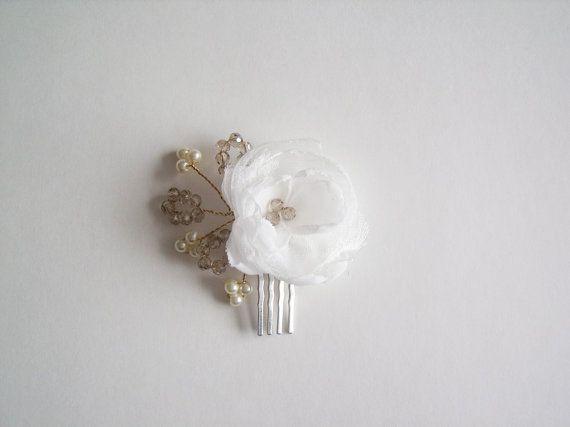 Bridal  Flower Headpiece  Ivory Bridal by fabcrystalbling on Etsy, $24.95