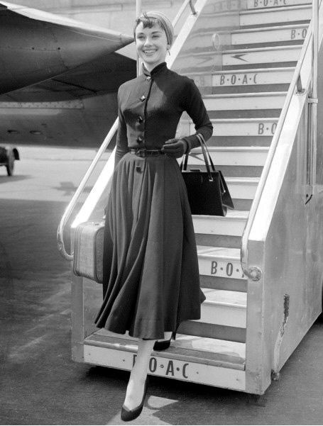 Audrey Hepburn arrives at London Airport from New York, 1953