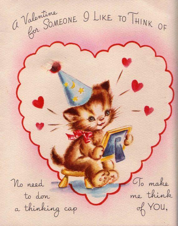 384 best vintage valentines day cards images on pinterest vintage 1950s cat valentine card m4hsunfo Images