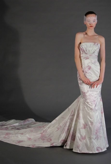 Brides.com: Dramatic Wedding Cakes Inspired by the Runway. Runway Trend: Florals. Floral-printed wedding dresses made a splash during the Spring 2013 bridal runway shows. Style S2C 94012, $6,600, Douglas Hannant Browse more Douglas Hannant wedding dresses.