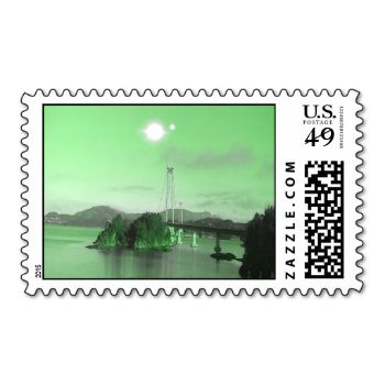 Green sky and green ocean. A bridge and mountain in the background. Two sun in the sky. You can also Customized it to get a more personally looks. #ocean #bridge #two-suns #binary-sun #sea #green-sky #green-ocean #green-water #mountain #tree #trees