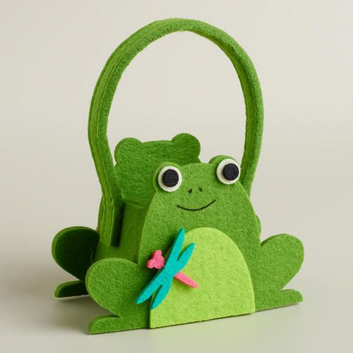 One of my favorite discoveries at WorldMarket.com: Mini Frog Felt Easter Basket