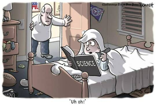 A subversive pro-science cartoon from Tennessee, by Clay Bennett (his archive, http://www.claybennett.com/archives.html )