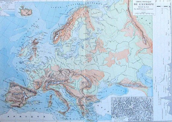 Carte Europe Maps.1887 Europe Relief Map Physical Geography Carte Physique