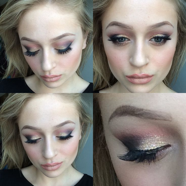 A gold glitter styles pink smokey eye, using colours from the Mac warm pallet and the Mac gold glitter. My foundation is the prolong wear foundation in NC 15 and my contour has been created with a Mac scouting powder in medium dark, highlighter is Lightscapade and blush is desert rose.