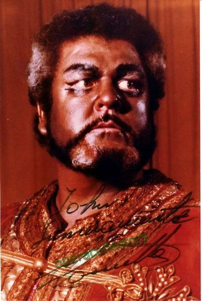 "Italian tenor (1932-2000), renowned for his Otello. Debuted in Bs Aires and made a very good career in Europe and the US. Shown as Otello. Size is 4x5.75 inches, inscribed. ALSO AVAILABLE: in ""La Fanc"