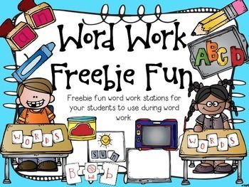 """FREE Word Work Stations (29 PG PACK!)....Follow for Free """"too-neat-not-to-keep"""" teaching tools & other fun stuff :)"""