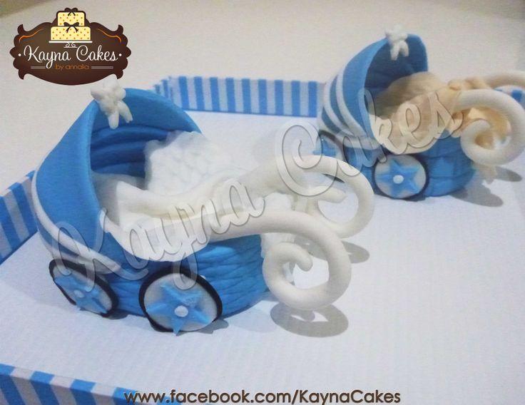 Stroller fondant figure for baby Raphael's manyue cake