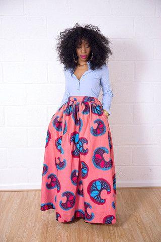 Maxi Skirts – Grass-Fields~African fashion, Ankara, kitenge, African women dresses, African prints, Braids, Nigerian wedding, Ghanaian fashion, African wedding ~DKK