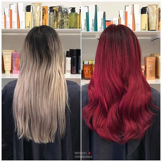 Från en gråblond färg till en intensiv röd färg, vilken makeover! Följ oss här på instastory under dagarna för att se våra färgprojekt ❤️👌🏼