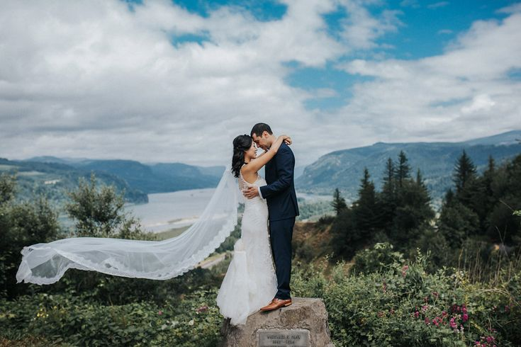 "Today's real wedding gives a whole new meaning to ""the great outdoors."" Oregon couple Meng and Max celebrated their marriage beneath a woodsy canopy that wa"