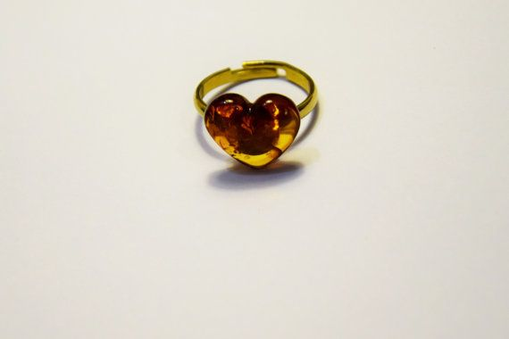 Genuine natural Baltic amber heart ring Amber heart by AmberGiftLT