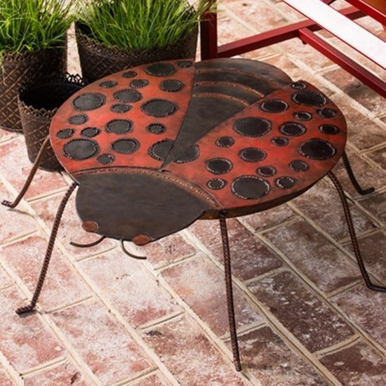 Babita Outdoor Side Table Lady Bug Design Red & Black Hold Drinks Plants Sm Lamp #WorldMenagerie #Contemporary