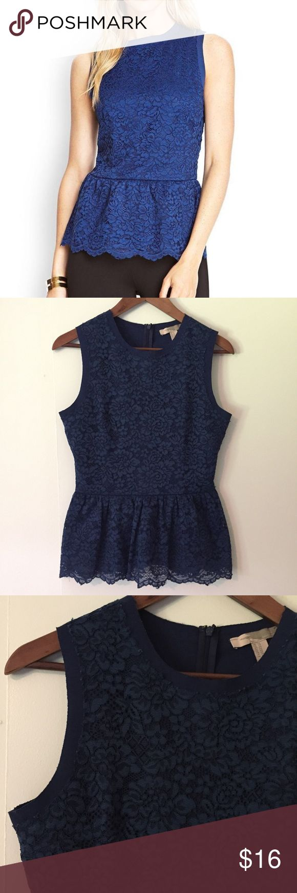 Forever 21 navy lace peplum sleeveless top sz XS Forever 21 navy lace peplum sleeveless top. Size: XS. Length: 21 inches. Chest: 17 inches. Navy blue. Back zip.  The super flattering peplum silhouette streamlines this feminine floral lace top, and a hint of stretch makes for a perfect fit. Great preowned condition. So pretty with a skirt or jeans! (Stock photo via forever21.com) Forever 21 Tops Tank Tops
