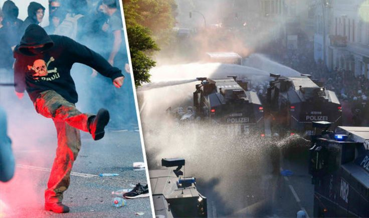 BREAKING: German riot police use WATER CANNON as violent G20 protests break out in Hamburg