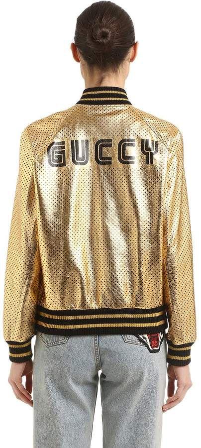 3ecaaadf876 Gucci Guccy Stars Metallic Leather Jacket  ad  gucci  jackets  gold ...