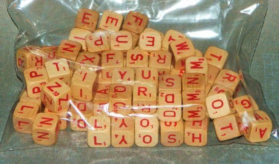 75 Red Letter Scrabble Cubes Dice Letters tan by VintageLetterShop, $14.49