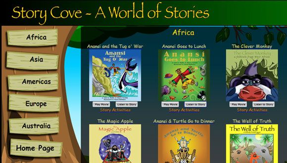 "Story Cove - stories from around the world arranged under the names of the continents.  You can open up the ""story book"" in your browser and let it playback the story for you.  You can plan an animated version and teachers can find related lesson plans."