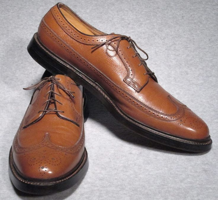 VTG Florsheim Imperial 93602 Brown Wingtip V-Cleat Shoes 5 Nail 13 B #Florsheim #WingTip #Formal