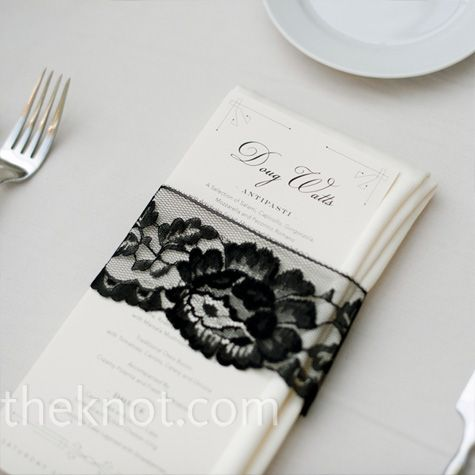 Black lace wedding napkin and menu classic and simple wedding attire