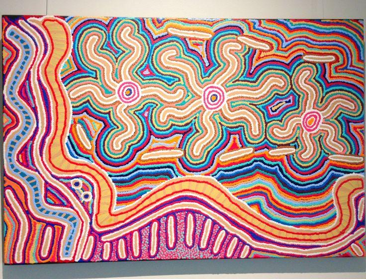 Aboriginal Art Origin:  Central Australia; Approx size: 1300mm x 850mm; Display lighting: 1 x Soraa Vivid2
